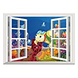 inspiring octopus wall mural  Window Frame Style Home Decor Art Removable Wall Sticker/Turtle,Funny Cartoon Character Carrying Kids Underwater Coral Reef Octopus Nursery Decor,Multicolor/Wall Sticker Mural
