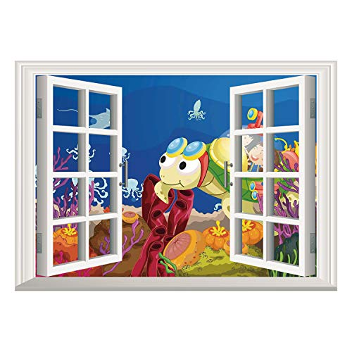 Window Frame Style Home Decor Art Removable Wall Sticker/Turtle,Funny Cartoon Character Carrying Kids Underwater Coral Reef Octopus Nursery Decor,Multicolor/Wall Sticker Mural
