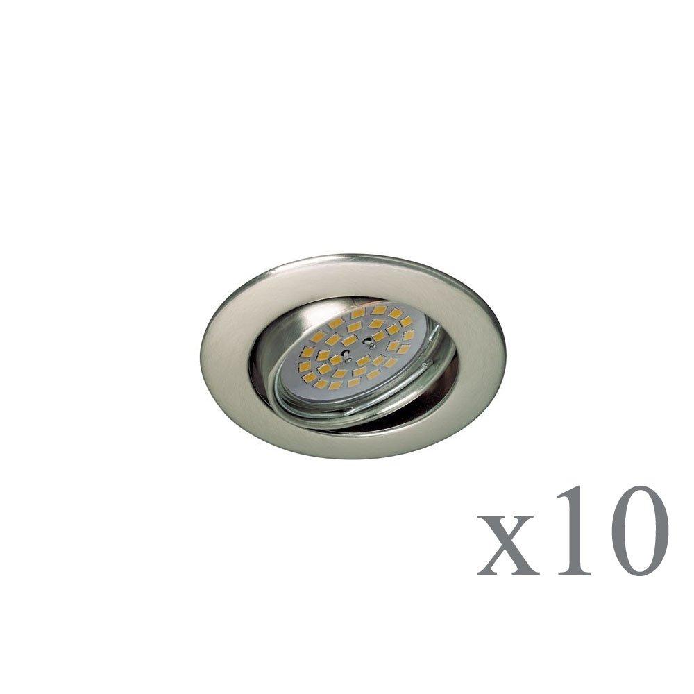 Wonderlamp Basic W-E000112 Pack de Focos Empotrables Redondos con Portalámparas GU10, Níquel, 8.5 x 1.5 cm, 10 Unidades: Amazon.es: Iluminación