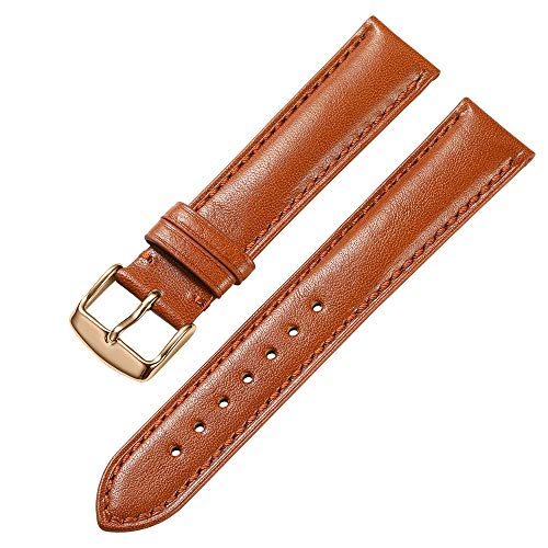 iStrap 18 19 20 21 22mm Genuine Calfskin Leather Watch Band Padded Strap Steel Spring Bar Buckle Super Soft(Six Color ()