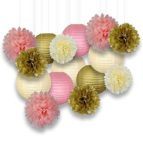Just Artifacts Decorative Paper Party Pack (15pcs) Paper Lanterns and Pom Pom Balls - Gold/Ivory/Pinks - Paper Lanterns and Décor for Birthday Parties, Baby Showers, Weddings and Life Celebrations! (Party City Lanterns)