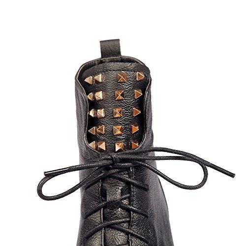 Amoonyfashion Mujer's Round Toe Botas De Tacón Bajo Cerrado Con Tacones Cuadrados Y Vendaje Negro
