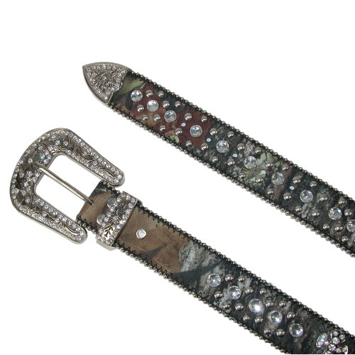 CTM Women's Western Rhinestone Cross on Mossy Oak Camo Belt, Medium, Camo