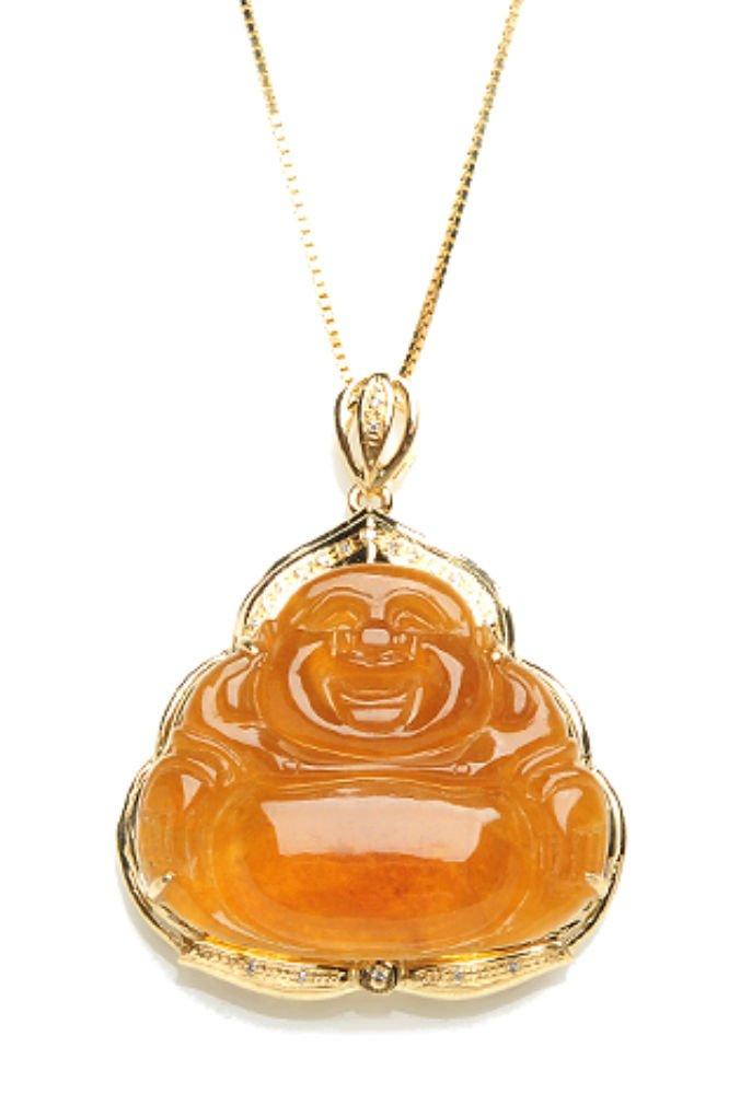 Jadeite Jade Pendant - Buddha (Grade A Jade) Free Sterling silver Chain