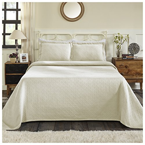 Superior 100% Cotton Basket Weave Bedspread with Shams, All-Season Premium Cotton Matelassé Jacquard Bedding, Quilted-look Geometric Basket Pattern - Queen, Ivory