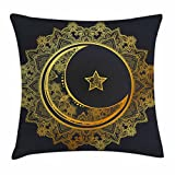 Gold Mandala Throw Pillow Cushion Cover by Ambesonne, Ramadan the Generous Month Themed Round with Crescent Moon and Star Islamic, Decorative Square Accent Pillow Case, 24 X 24 Inches, Indigo Gold