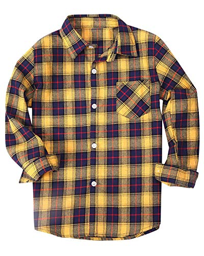 Little Boys' Button Down Check Plaid Flannel T Shirt Blouse Tops, Yellow, Age 18M-24M (18-24 Months) = Tag 90
