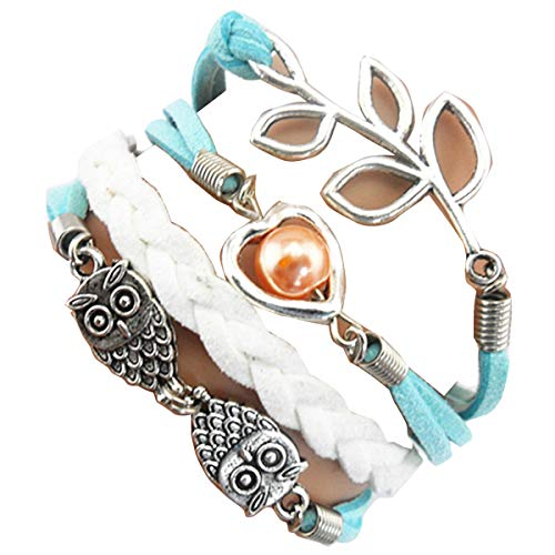 Ac Union ACUNIONTM Handmade Heart Luckly Leaf Branch Owls Charm Friendship Gift Leather Bracelet