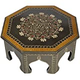 Lalhaveli Indian Decorative Wooden Table/Small Table Wooden 14 x 14 x 6 Inch