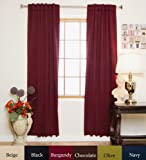 Energy Saving Curtains Burgundy Rod Pocket Energy Saving Thermal Insulated Blackout Curtain 108 Inch Length Pair