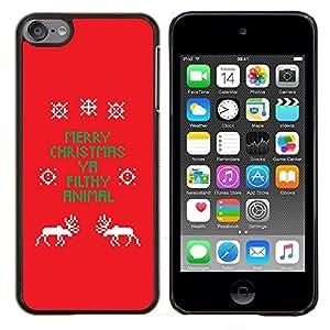 TECHCASE---Cubierta de la caja de protección para la piel dura ** Apple iPod Touch 6 6th Touch6 ** --La Navidad divertida del texto Red X Mas