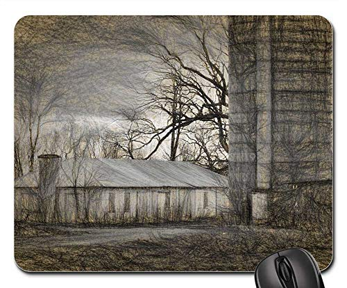 Mouse Pad - Haunted Farm Old Halloween Scary Wooden -