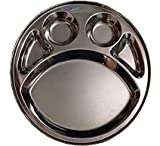 Stainless Steel Round Divided Dinner Plate 5 sections,Steel Five Compartment Round Thali,Steel Five Compartment Round Plate,Round Thali,Dinner Plate,Indian thali,Dinnerware Thali,Thali,Mess Tray