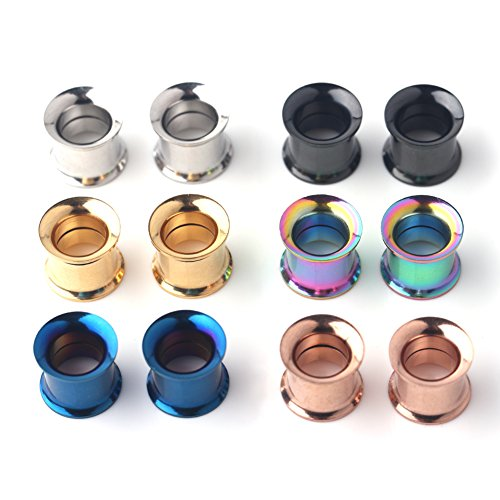 Ruifan 6 Pairs Stainless Steel Screw Ear Gauges Flesh Tunnels Plugs Expander Stretcher 6 Colors Same Size 6G-00G