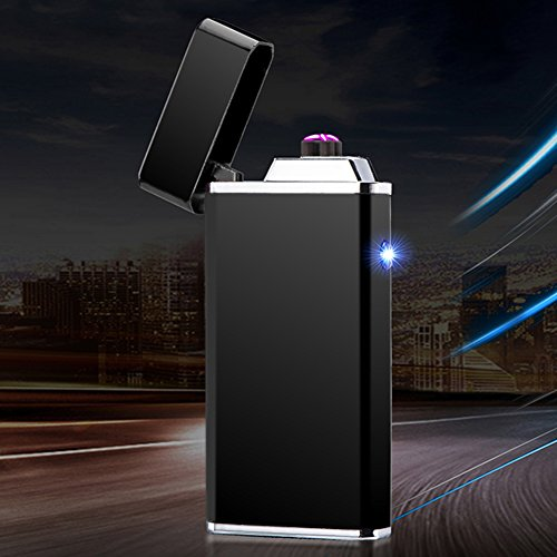 Electric Dual Arc Lighter Rechargeable USB Cigarette Lighter Plasma Flameless Windproof Lighter for Cigar,Candle,Cigarette (Black)