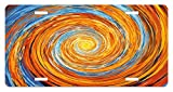 zaeshe3536658 Fractal License Plate, Hippie Style Vortex Spiral Rotary Colorful Chaotic Unusual Turning Contrast Design, High Gloss Aluminum Novelty Plate, 6 X 12 Inches.