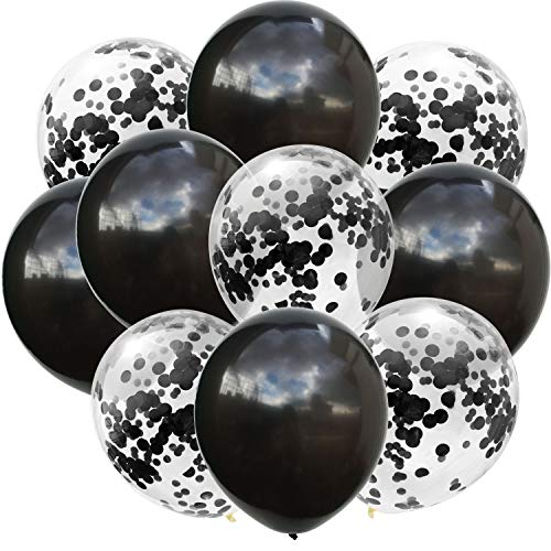 50 Pcs New Year Confetti Balloons Black and Black Sequins 12