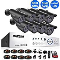 TMEZON 8 Channel AHD System 2.0MP 1080P HD Megapixel Security Camera HD-AHD DVR Kit with 1TB HDD 8 x 2.0MP 1080P Infrared Cameras System