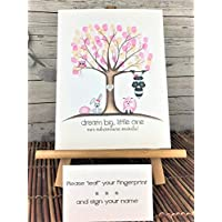 Customizable woodland animal fingerprint tree for a girl's woodland animal themed baby shower, featuring a pink owl, fox, and hedgehog, and a raccoon and bunny with pink bows