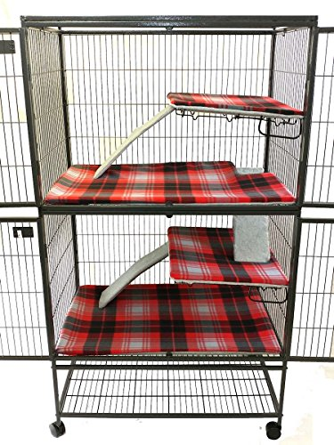 Piggy BedSpreads Fleece Liners for Ferret Nation Critter Nation Cage (Double, Madras Plaid) Cage Not Included