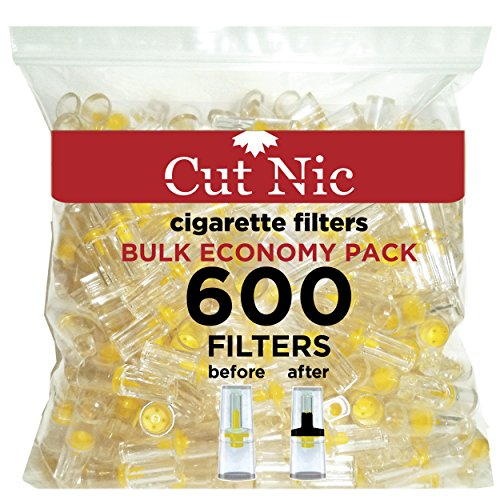 Cut-Nic 4 HOLE Disposable Cigarette Filters - Bulk Economy Pack (600 Per Pack) (Tar Filters Trap)