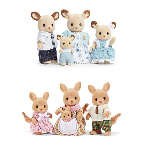 Calico Critters Familiy Set Featuring Buckley Deer Family & Hopper Kangaroo Family - 2 Items Bundled by Maven Gifts