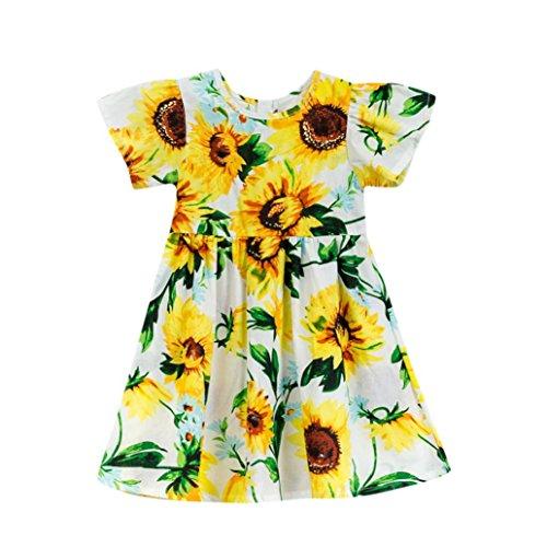 Price comparison product image Ankola Girl's Summer Dress, Toddler Baby Girls Cartoon Sunflower Print Short Sleeve Dress Clothes (3T,  White)