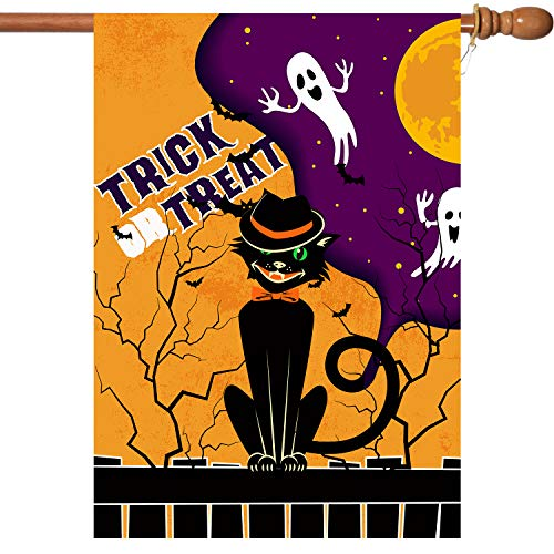 VIEKEY Halloween Flag 28 x 40 Trick or Treat Flag Inches Halloween House Garden Flag Printing Double Readable 2 Layer Fabric