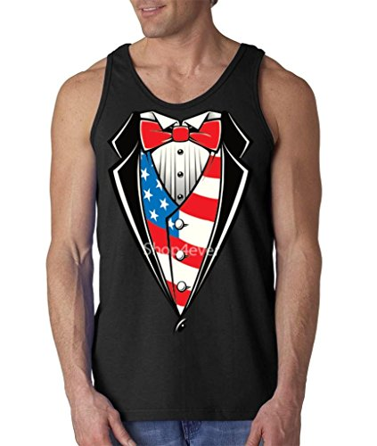 af460a1b4cc89 Shop4Ever Tuxedo Costume USA Flag Men s Tank Top 4th of July Tank Tops