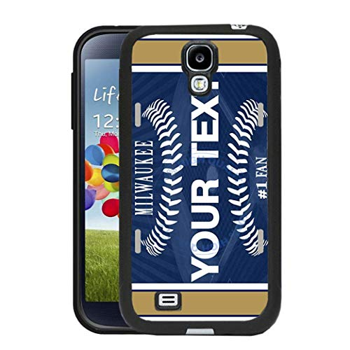 BRGiftShop Personalize Your Own Baseball Team Milwaukee Rubber Phone Case For Samsung Galaxy S4 (Brewers Samsung Galaxy S4 Case)