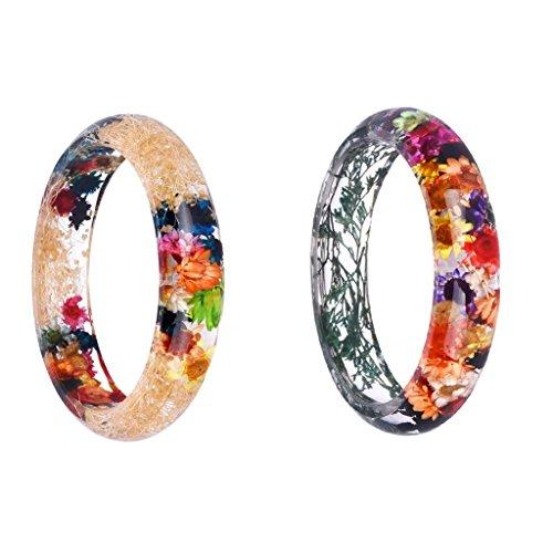 Women's Fashionable Handmade Plastic Dried Flowers Incased Resin Bracelets & Bangles