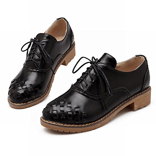 Carol Shoes Womens Comfort Lace-up Casual Pattern Pattern Chunky Tacco Basso Oxford Scarpe Nere