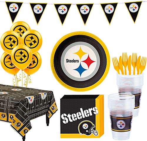 Steelers Party Supplies (Party City Pittsburgh Steelers Super Party Supplies for 18 Guests, Include Plates, Napkins, Table Cover, and)