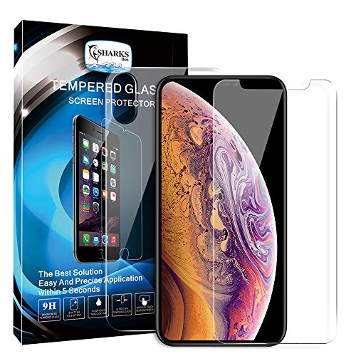 SHARKSBox Front Back Screen Protector for iPhone Xs Max [2 Pack], Rear Tempered Glass [3D Touch] Temper Glass Film Anti-Fingerprint/Scratch Compatible with iPhoneXS Max (Front & Back,2 Pack,6.5inch)