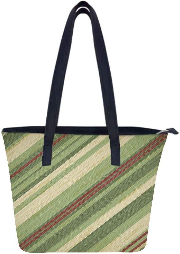 Red Green Diagonal Stripes Women Leather Laptop Tote Office Shoulder Handbag Computer Briefcase
