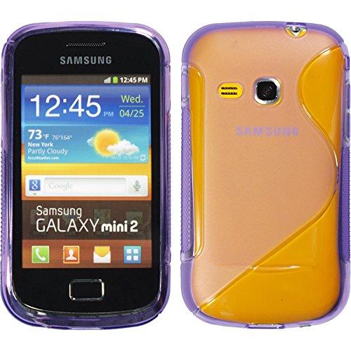 PhoneNatic Silicone Case Compatible with Samsung Galaxy Mini 2 - S-Style Purple Cover + Protective foils