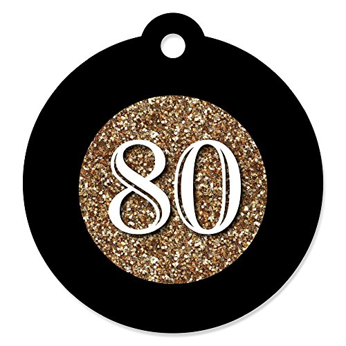 80th Birthday Party Favors (Adult 80th Birthday - Gold - Birthday Party Favor Gift Tags (Set of 20))