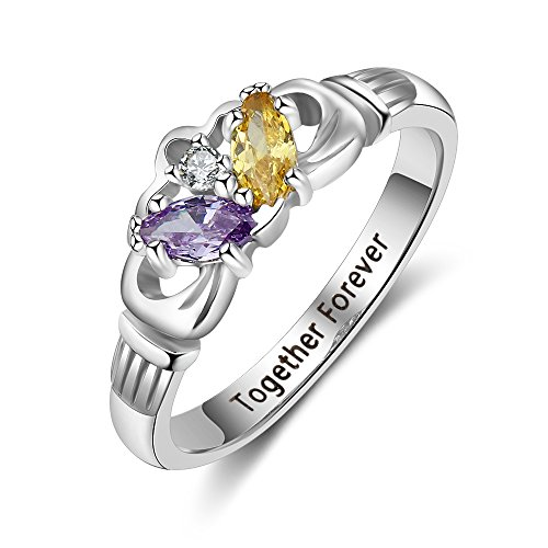 Love Jewelry Personalized 2 Simulated Birthstone Mothers Ring Engraved Names Custom Engagement Promise Rings for Women (8)