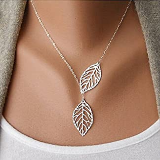 Aukmla Chic Leaf Shaped Chain Jewelry Necklaces for Women and Girls (Silver)