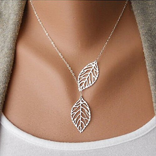 Nero 2015 Fashion Chic Leaf Shaped Lariat Style Chain Jewelry Necklaces for Women Hot Casual Necklace for Girls on Party Evening Wedding (Sliver)