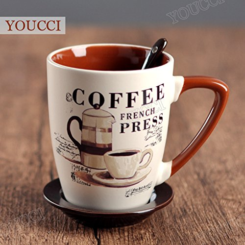 Ceramic Coffee Cup with lid and spoon Creative Hand-painted Porcelain Mug sets,for making Espresso,Cappuccino,Mocha,Latte coffee cup disc,(Latte)#2