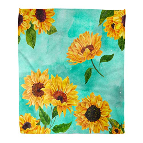 Emvency Decorative Throw Blanket 60 x 80 Inches Colorful Flower Retro Style with Vibrant Watercolor Sunflowers on Teal Blue Yellow Warm Flannel Soft Blanket for Couch Sofa Bed -