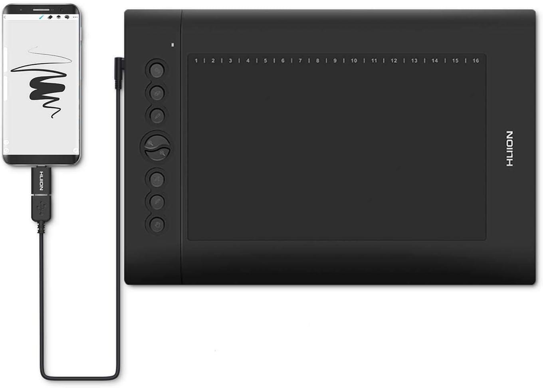 HUION H610 Pro V2 2019 Tableta de Dibujo de gráficos Función de inclinación Stylus sin batería con 8192 Pen Pressure y 8 Teclas de Acceso rápido para Dispositivos Windows, Mac y Android: