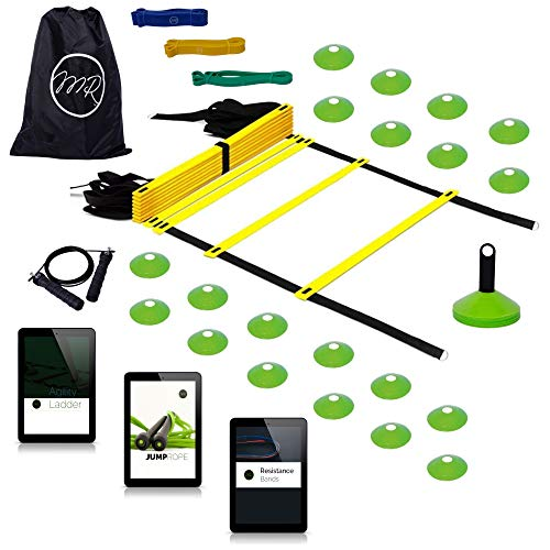 MRProdux Speed and Agility Training Set with 3 E-Books | Includes 16-Rung Agility Ladder, 3 Resistance Bands, 20 Disc Cones, 1 Jump Rope, and 3 E-Books | Football, Soccer, Athletic Training Equipment