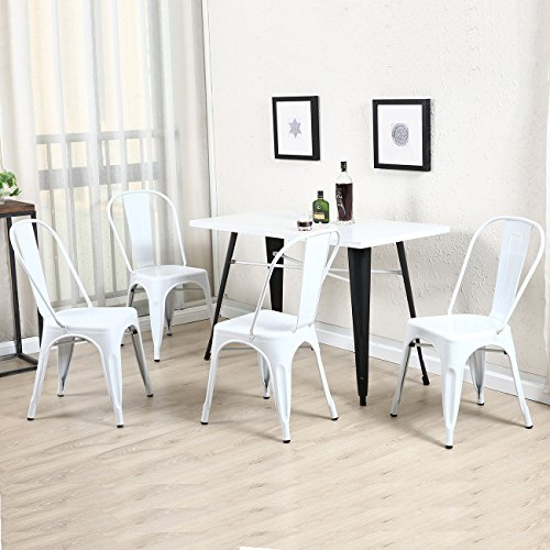 Belleze Set of (4) Vintage Style Dining Chairs Steel High Back Chairs Side Stool - Dining Chair High Side
