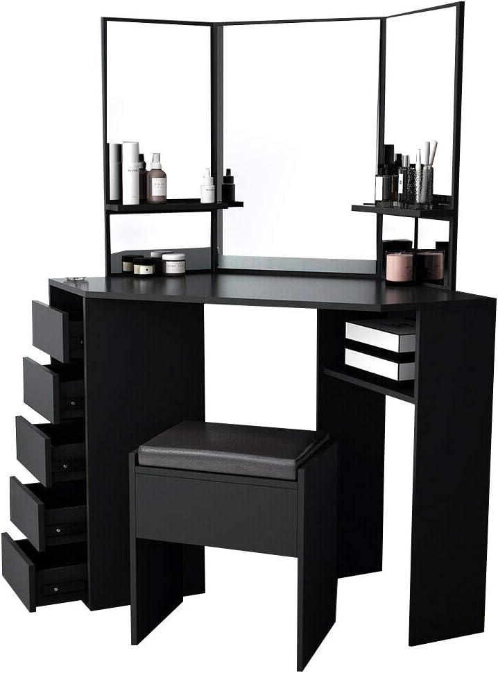 5 tiroirs et 1 Tabouret Blanc pour Chambre Salon Maison Meuble Yulie Grande Coiffeuse avec Miroir /à 3 Volets Table de Maquillage
