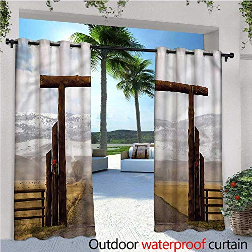 warmfamily Western Outdoor Privacy Curtain for Pergola Montana Cattle Ranch Winter Thermal Insulated Water Repellent Drape for Balcony W96 x L96