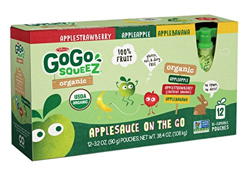 GoGo SqueeZ Organic Applesauce on the Go, Variety Pack (Apple Apple/Apple Banana/Apple Strawberry), 3.2 Ounce Portable BPA-Free Pouches, Gluten-Free, 12 Total Pouches by GoGo SqueeZ
