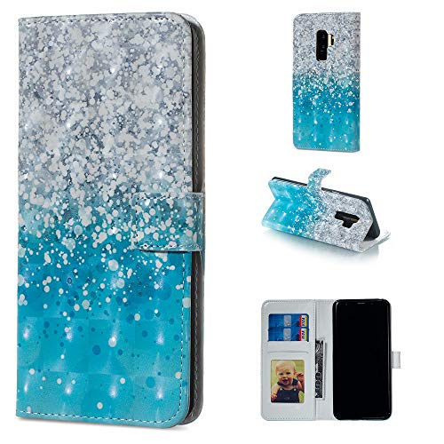 Gostyle Wallet Case for Samsung Galaxy S9 Plus,Colorful 3D Painting Pattern Leather Case with Card Holder,Flip Book Style Magnetic Closure Stand Cover-Sea Sand