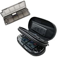 Khanka All-in-one Double Compartment Carry Travel Case Bag + Gray Game/Memory Card hard Case For Psvita PS Vita 1000 and PSVita Slim (PSV 2000), fits Charger cable/Game Cards